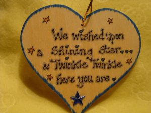 **SALE** was £3.99 We Wished Upon A Shining Star & Twinkle Twinkle Here You Are wooden heart sign handmade (blue)